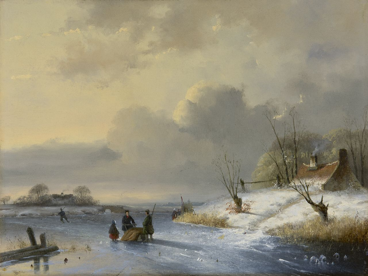 Hoppenbrouwers J.F.  | Johannes Franciscus Hoppenbrouwers, A winter landscape with skaters, oil on panel 27.9 x 36.9 cm, signed l.l. and dated 1847