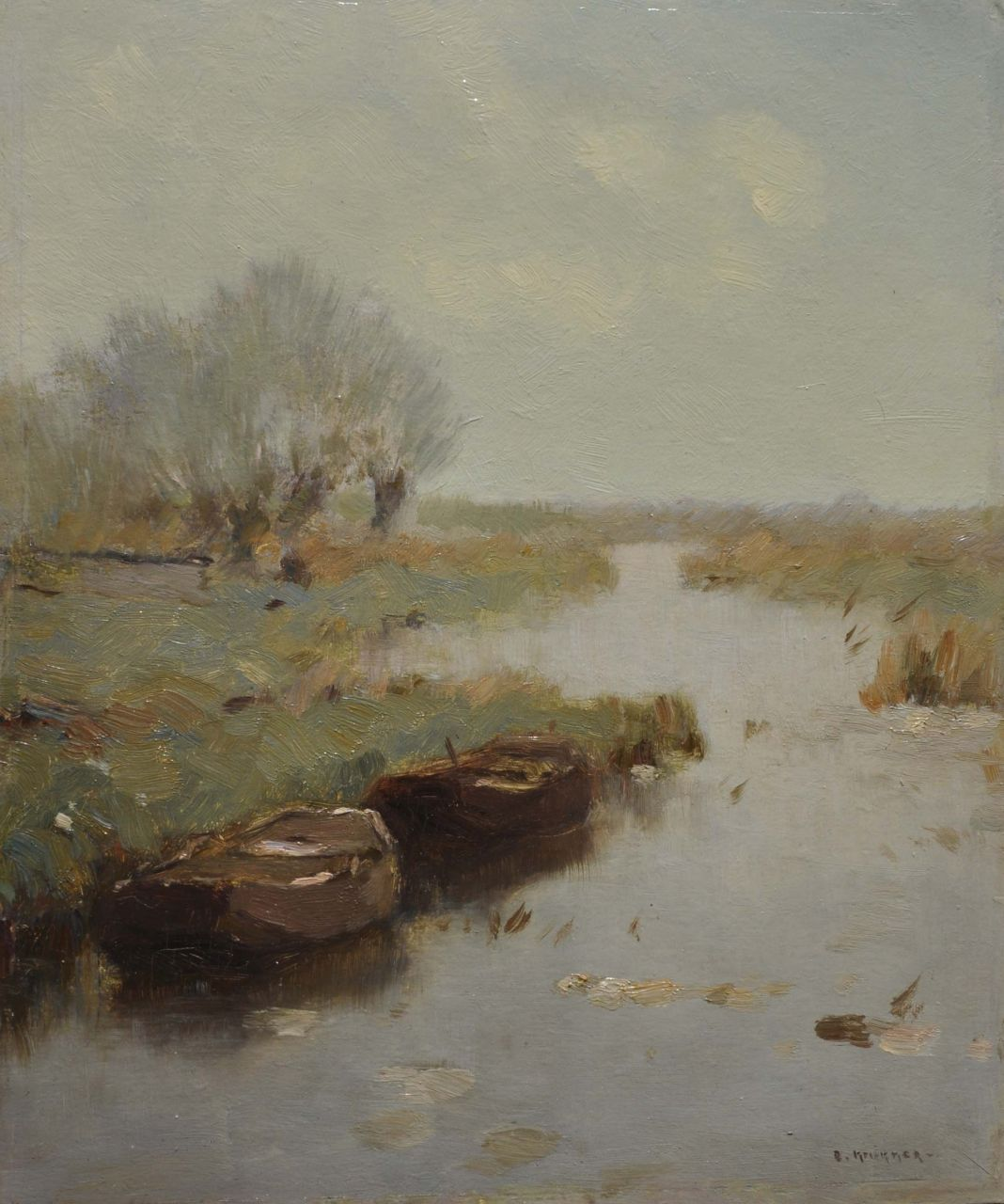 Knikker A.  | Aris Knikker, Moored rowing boats in a canal, oil on painter's board 25.4 x 21.4 cm, signed l.r.