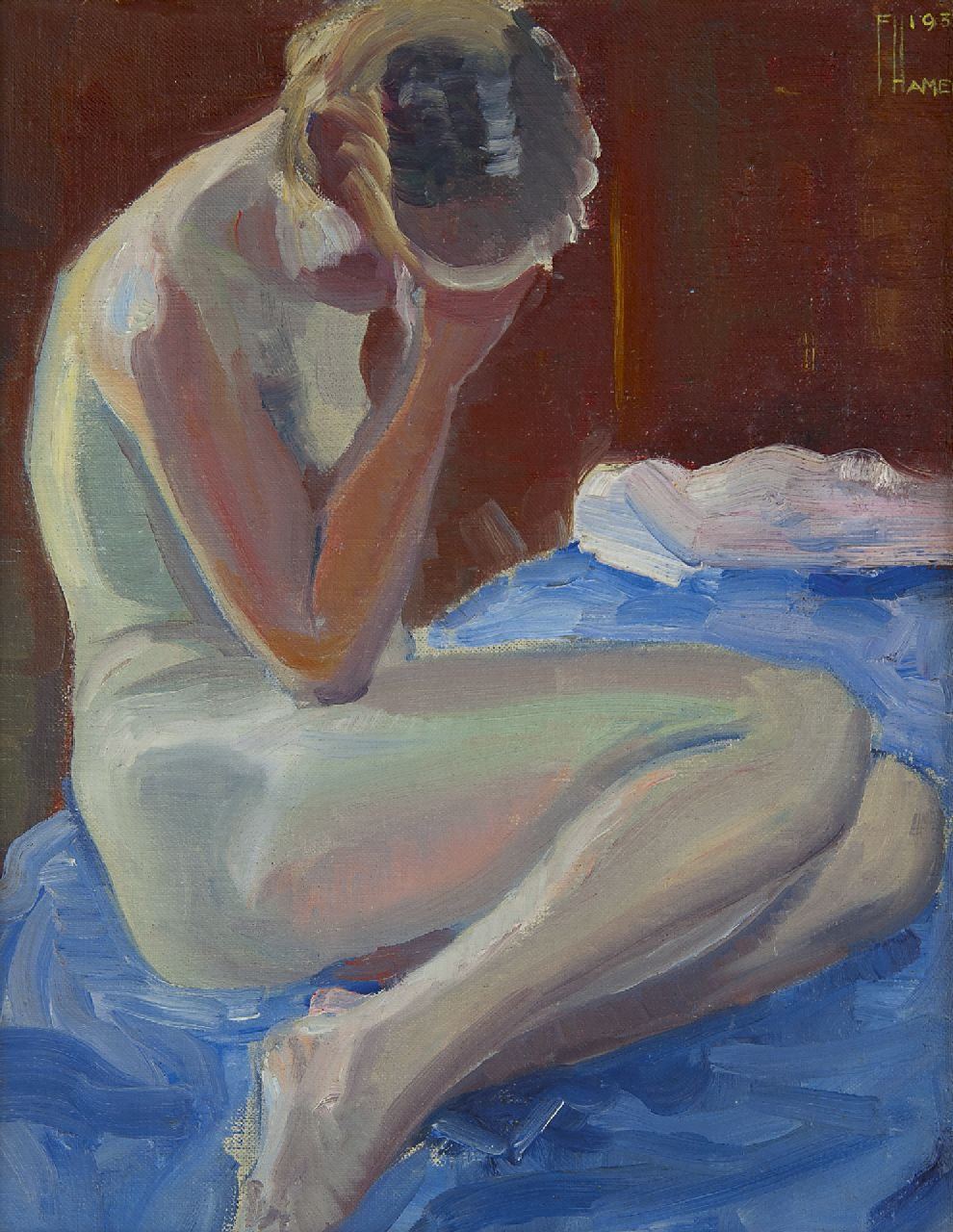 Vivian reed oil painting on canvas of seated nude woman