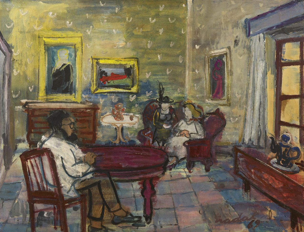 Carlos Nadal | Interior with figures, oil on paper laid down on canvas, 49.9 x 65.0 cm, signed l.r. and dated '69
