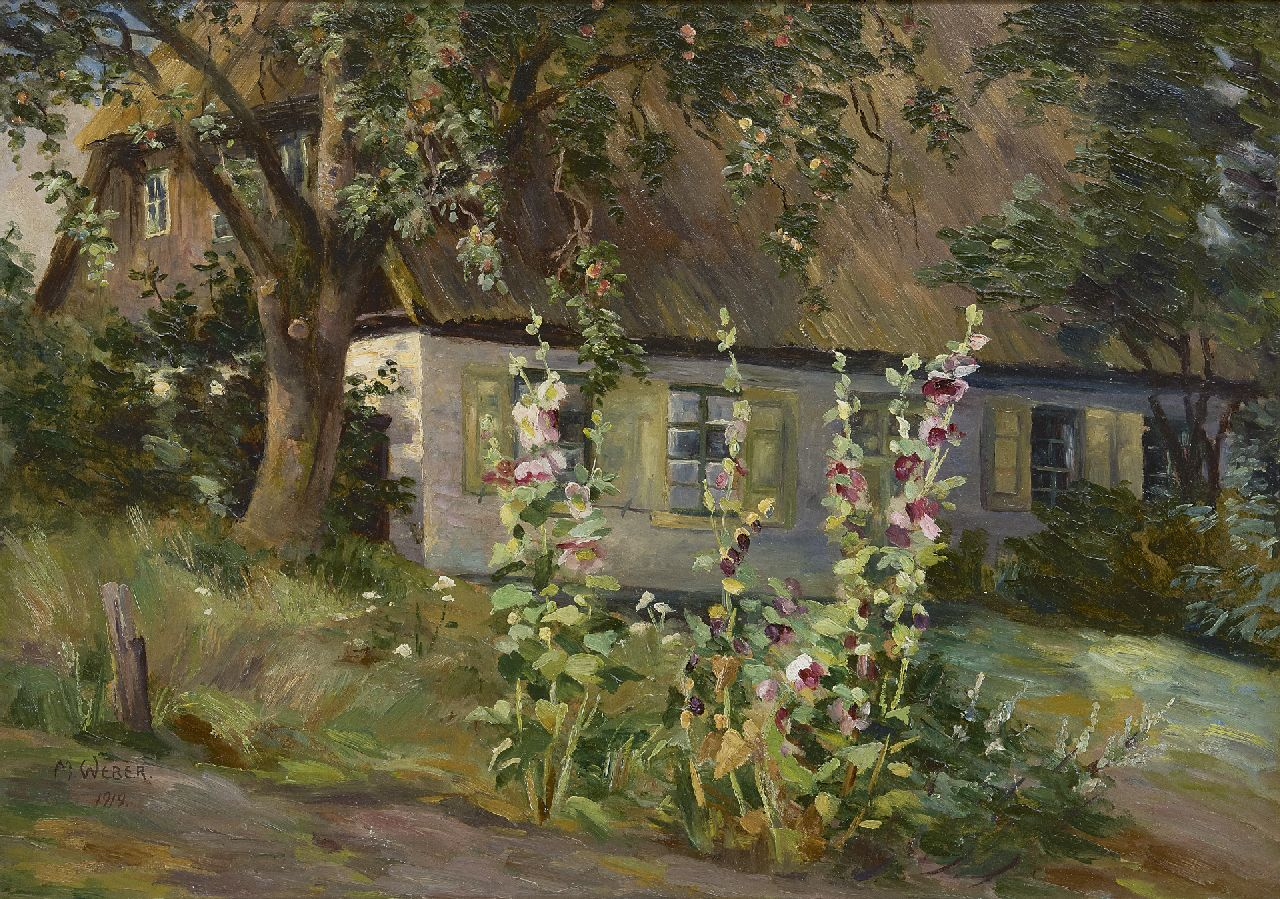 Marie Weber | Hollyhocks on a farmyard, oil on board, 34.8 x 49.8 cm, signed l.l. and with stamp on label on the reverse and dated 1919