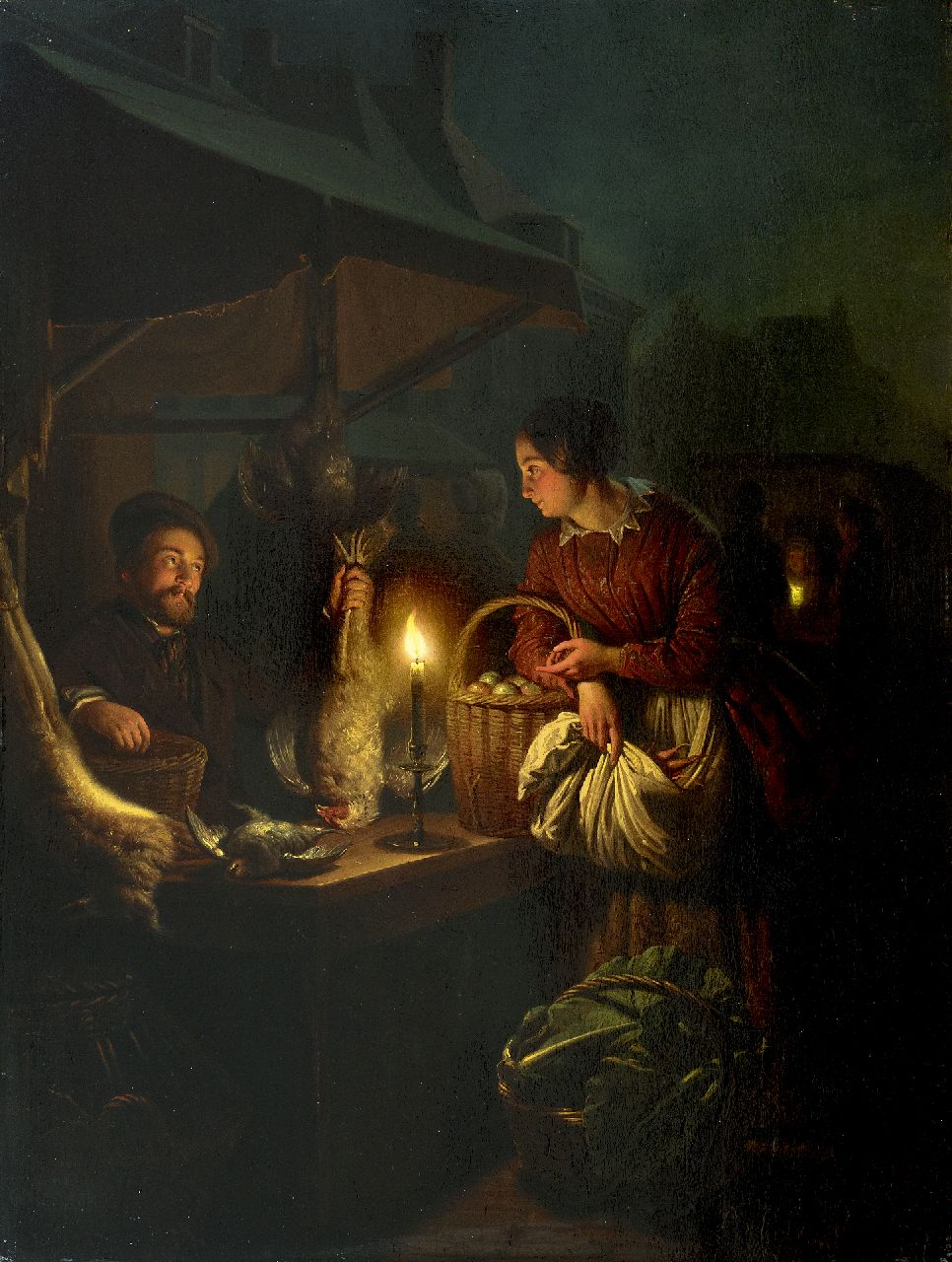 Schendel P. van | Petrus van Schendel | Paintings offered for sale | The game and poultry seller, by candle light, oil on panel 57.0 x 42.8 cm, signed l.r. and dated 1856