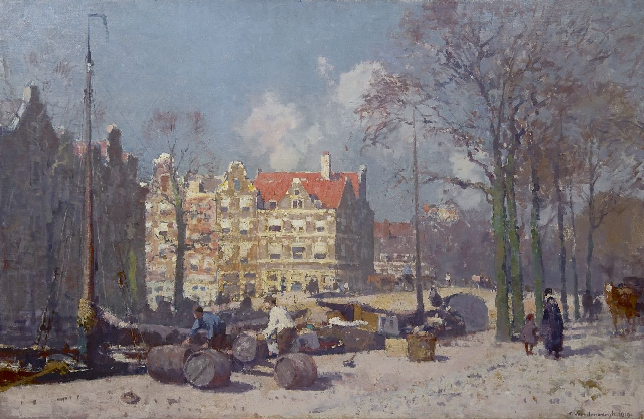 Vreedenburgh C.  | Cornelis Vreedenburgh | Paintings offered for sale | A sunny canal at the Brouwersgracht, Amsterdam, oil on canvas 82.4 x 128.0 cm, signed l.r. and dated 1919