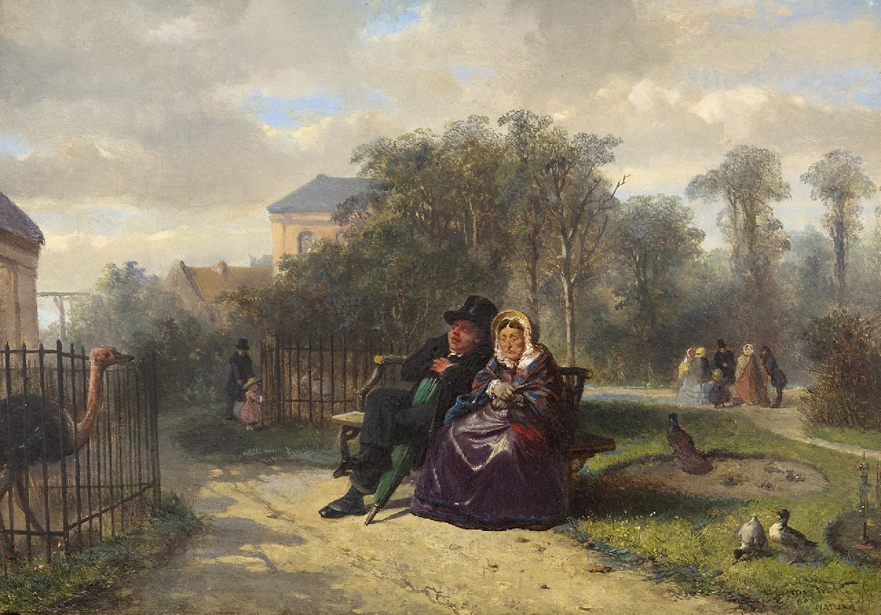 Kate J.M.H. ten | Johan 'Mari' Henri ten Kate | Paintings offered for sale | Visiting Artis Zoo in Amsterdam, oil on panel 26.9 x 38.3 cm, signed l.r. and dated 1860 on a label on the reverse