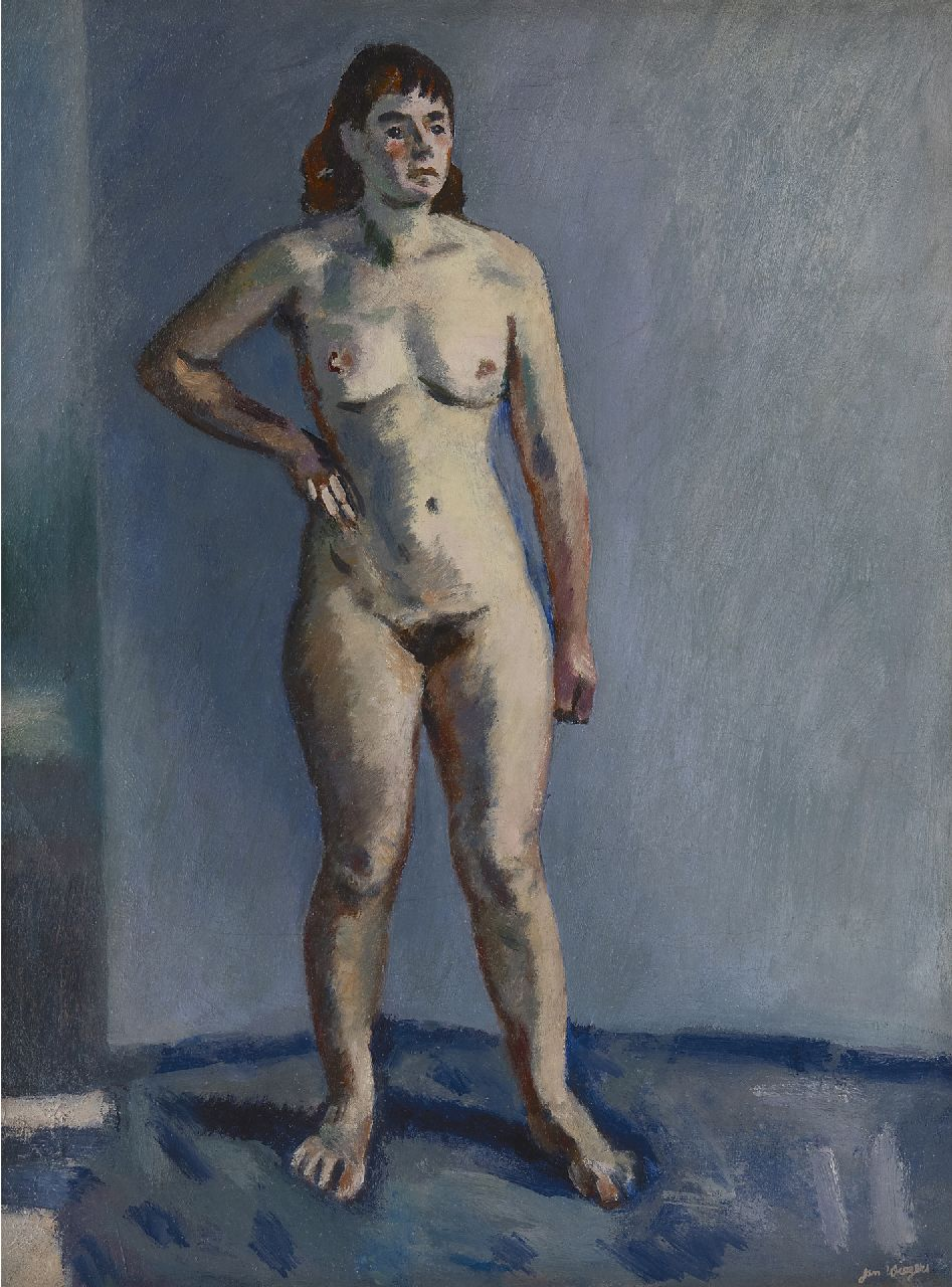 Wiegers J.  | Jan Wiegers | Paintings offered for sale | Standing nude, oil on canvas 61.3 x 46.3 cm, signed l.r. and painted in the 1940s
