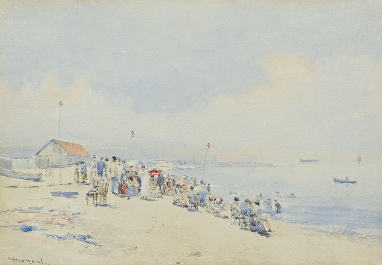 Auguste Ernest Sembach | Sunday on the beach on the coast of Belgium, watercolour on paper, 27.6 x 39.1 cm, signed l.l.