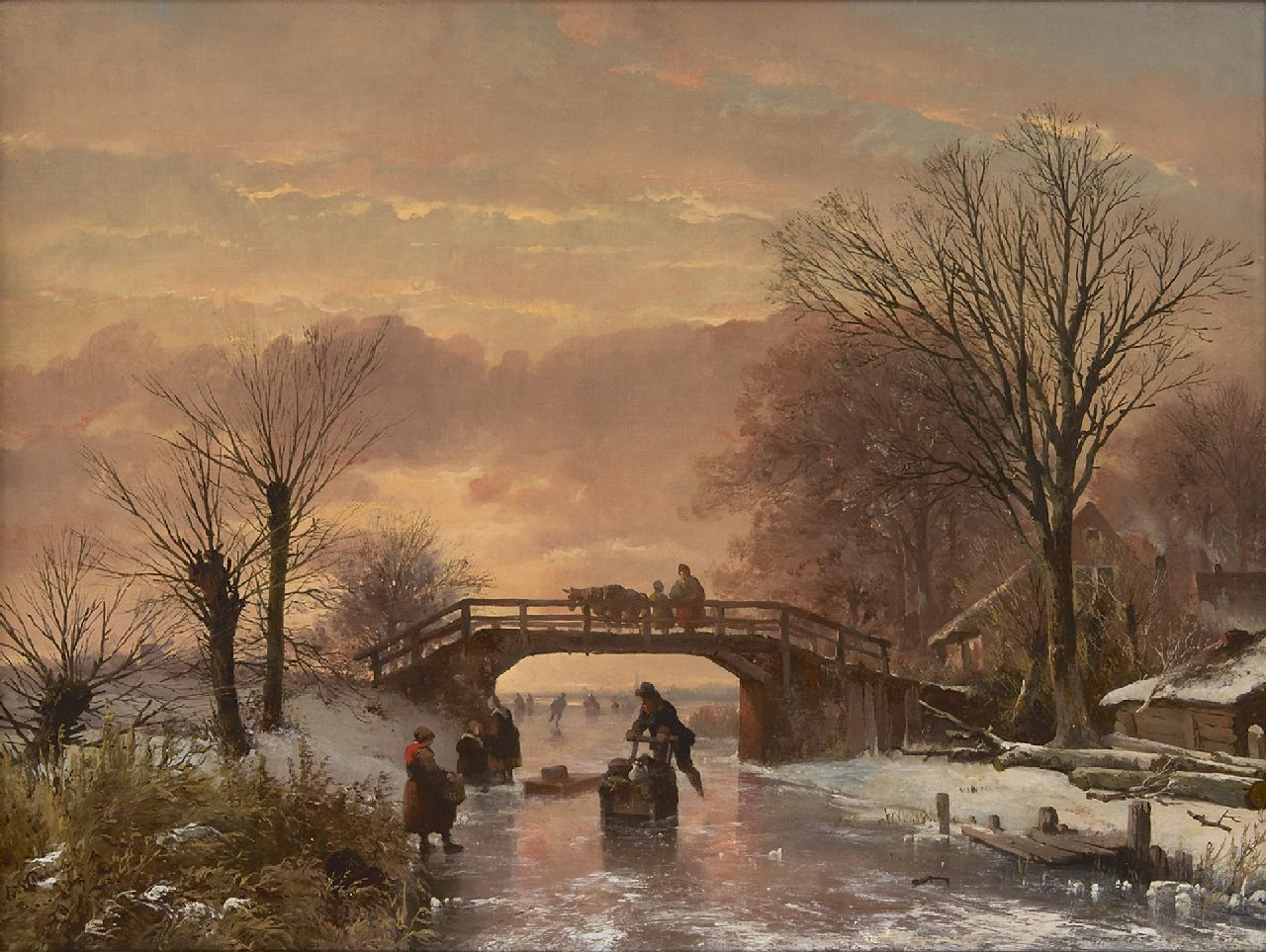 Abraham van der Wayen Pieterszen | Skating fun at sunset, oil on canvas, 48.5 x 65.3 cm, signed l.l.