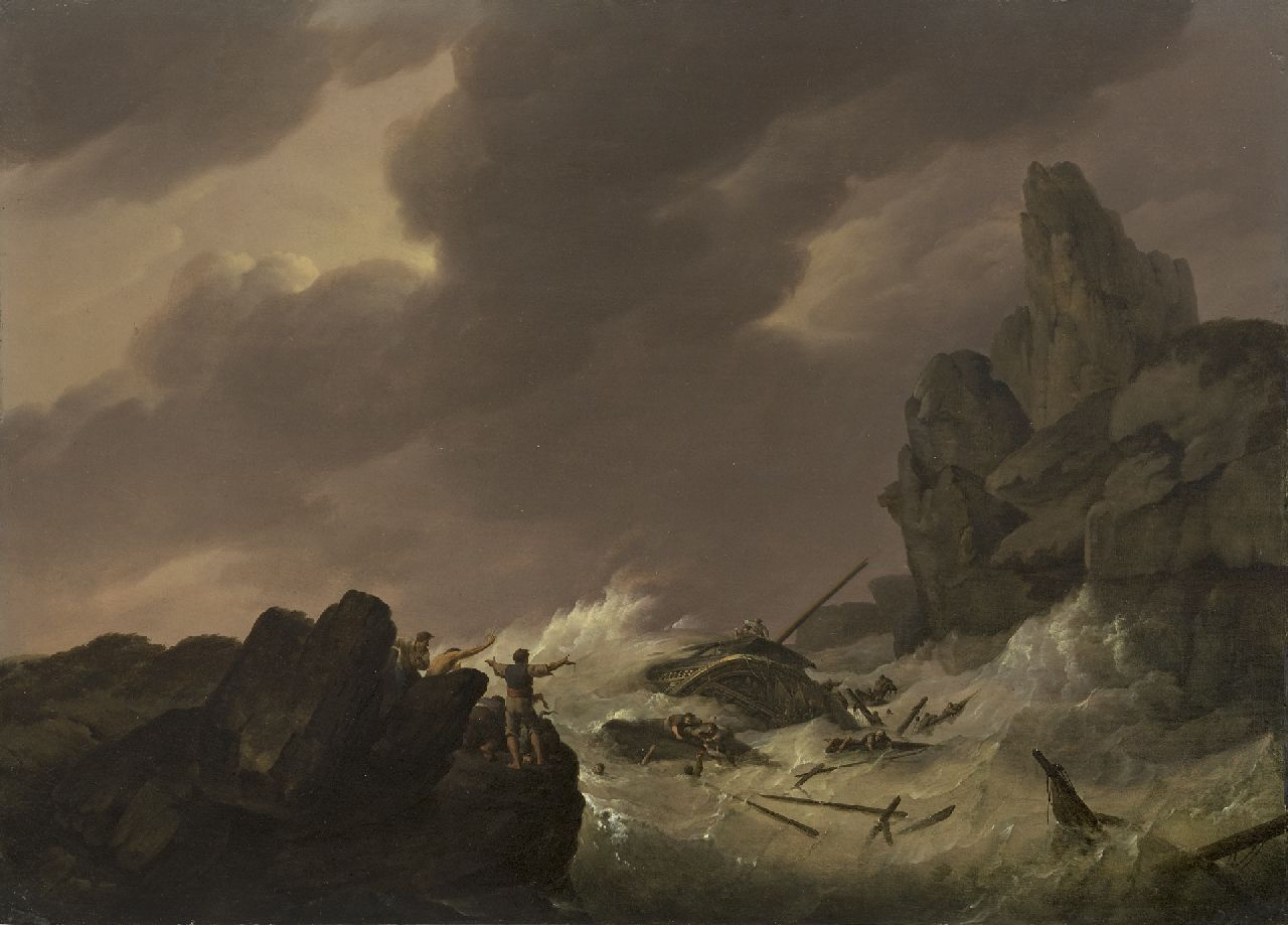 Koekkoek J.H.  | Johannes Hermanus Koekkoek | Paintings offered for sale | Shipwreck off the coast, oil on panel 34.1 x 47.7 cm, signed l.c. and painted ca. 1810