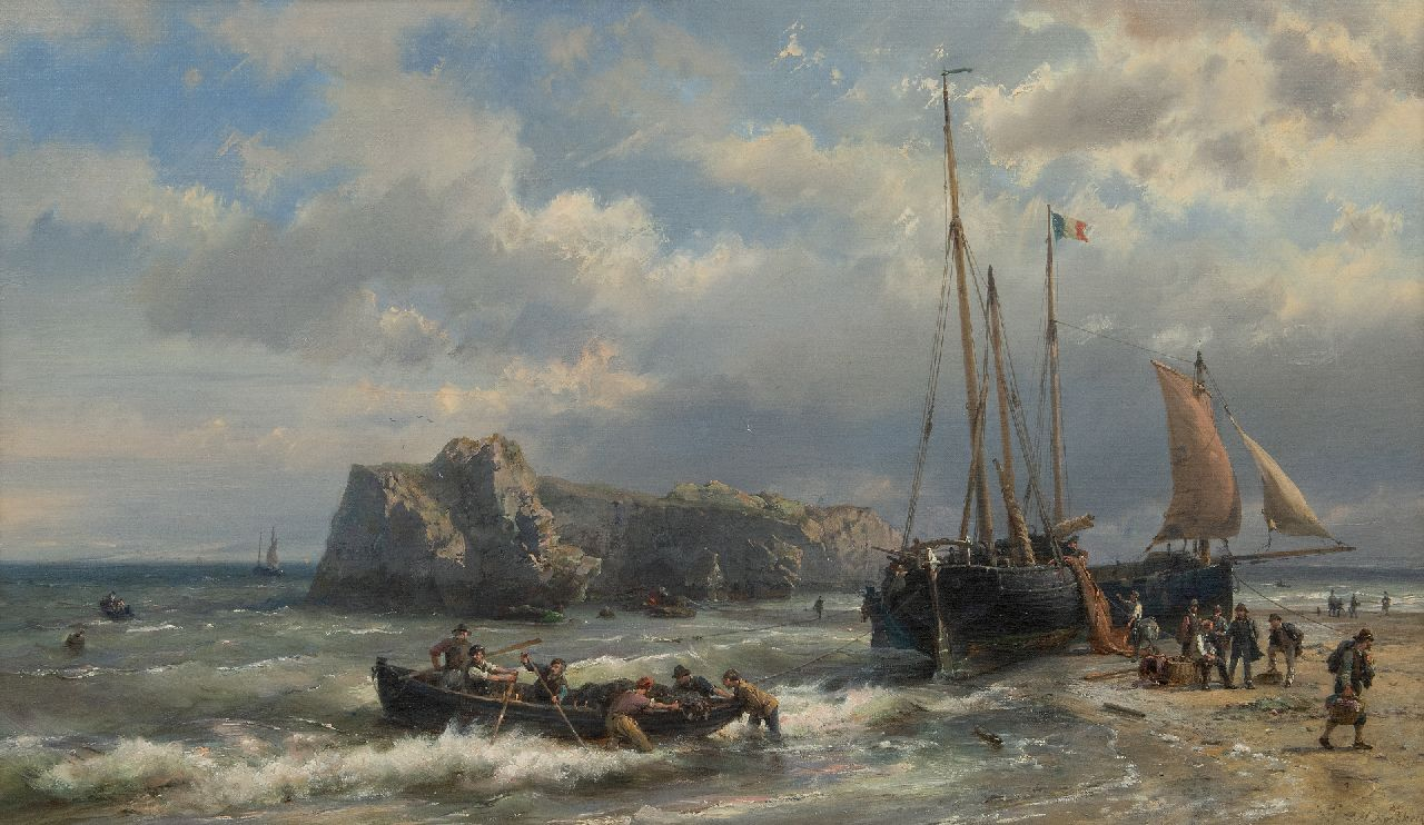 Koekkoek H.  | Hermanus Koekkoek | Paintings offered for sale | Ships and fishermen on the French coast, oil on canvas 45.1 x 76.7 cm, signed l.r.