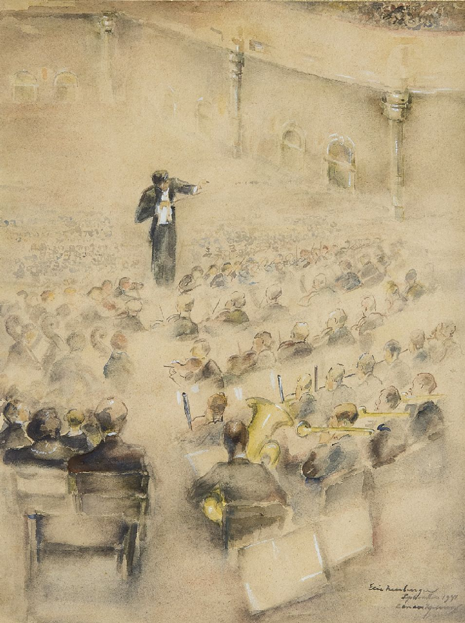 Elie Neuburger | In the Concerthall, Amsterdam, watercolour on paper, 40.0 x 30.0 cm, signed l.r. and dated September 1941