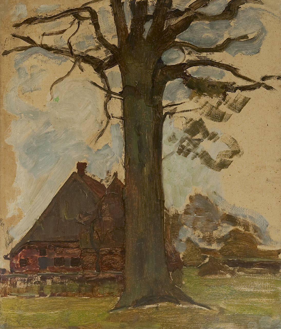 Mondriaan P.C.  | Pieter Cornelis 'Piet' Mondriaan | Paintings offered for sale | Farm with tree, oil on board laid down on panel 75.5 x 64.0 cm, painted circa 1906-1907