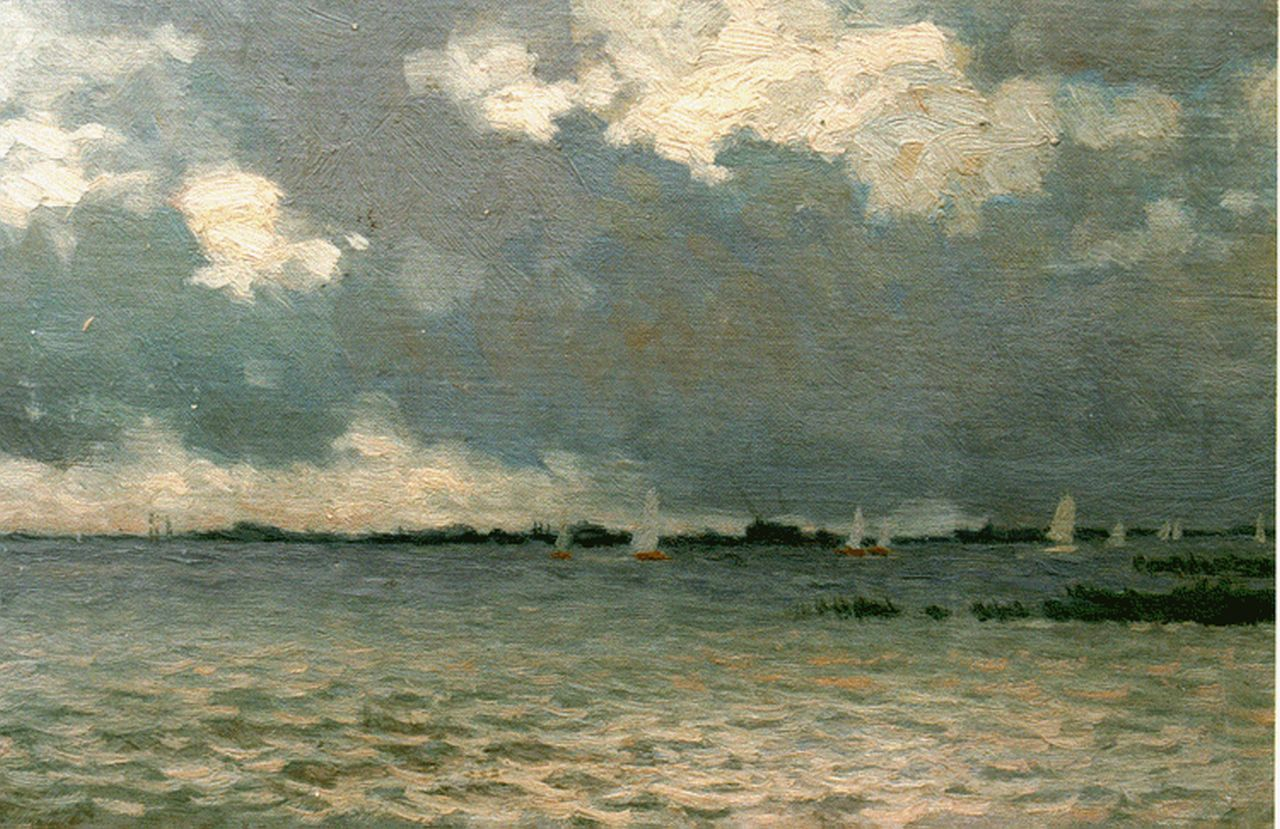 Schotel A.P.  | Anthonie Pieter Schotel, Sailing vessels on a lake, oil on canvas laid down on panel 24.6 x 38.3 cm, signed l.l.