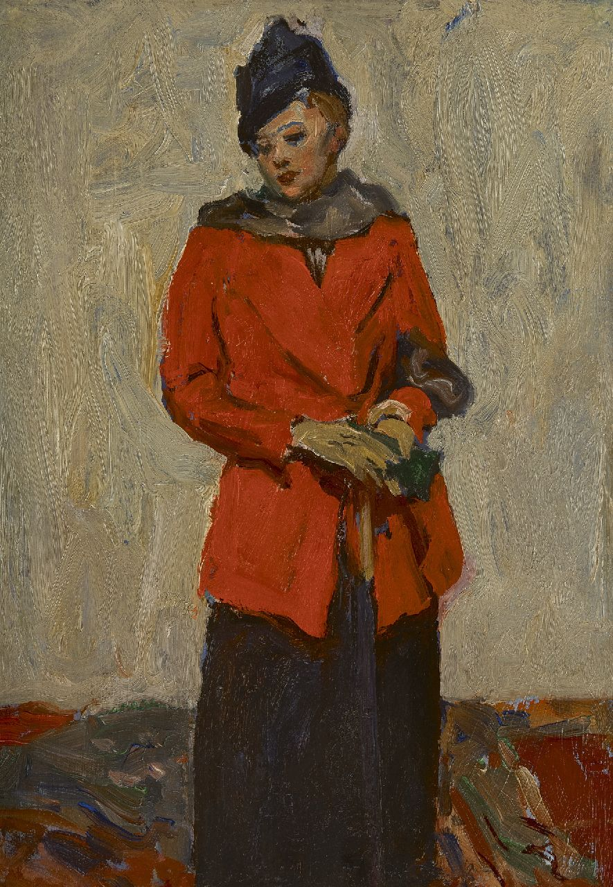 Richard Baseleer | Lady in a red coat, oil on panel, 33.5 x 24.6 cm, signed on the reverse and dated on the reverse 'Venise' 1913