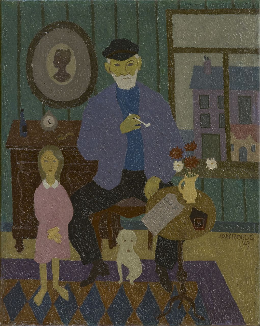 Roëde J.  | Jan Roëde | Paintings offered for sale | Grandfather and granddaughter, oil on canvas 50.5 x 40.4 cm, signed l.r. and dated '43