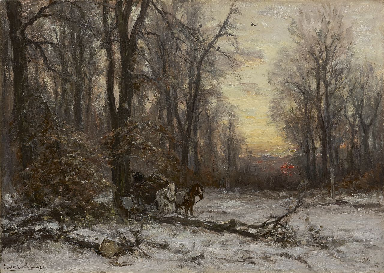 Apol L.F.H.  | Lodewijk Franciscus Hendrik 'Louis' Apol, A forest in winter with a horse drawn cart, oil on canvas 50.4 x 70.5 cm, signed l.l. and dated 1927