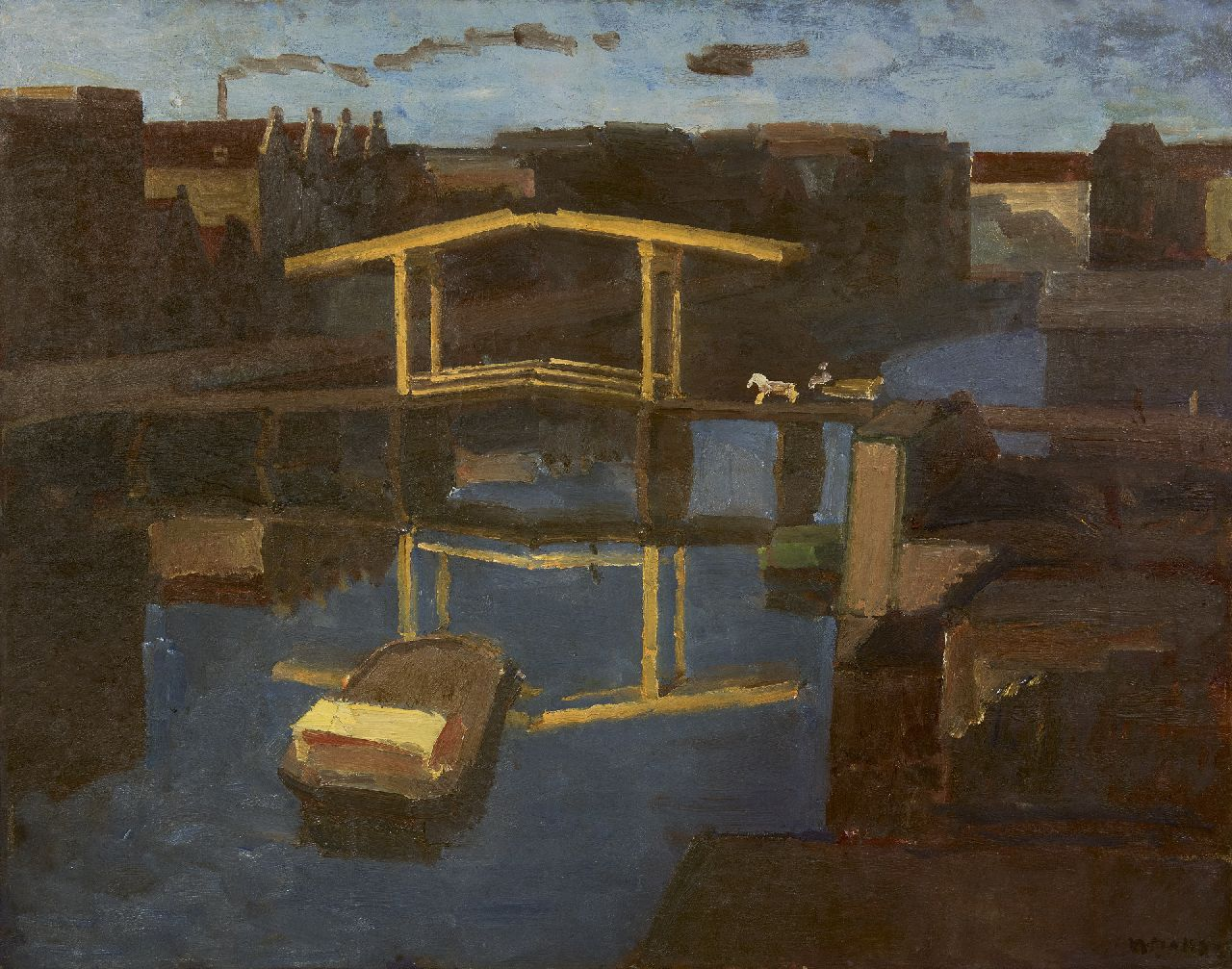 Maks C.J.  | Cornelis Johannes 'Kees' Maks | Paintings offered for sale | The drawbridge (view from  the artist's studio on the Prinseneiland, Amsterdam), oil on canvas 79.4 x 100.0 cm, signed l.r.