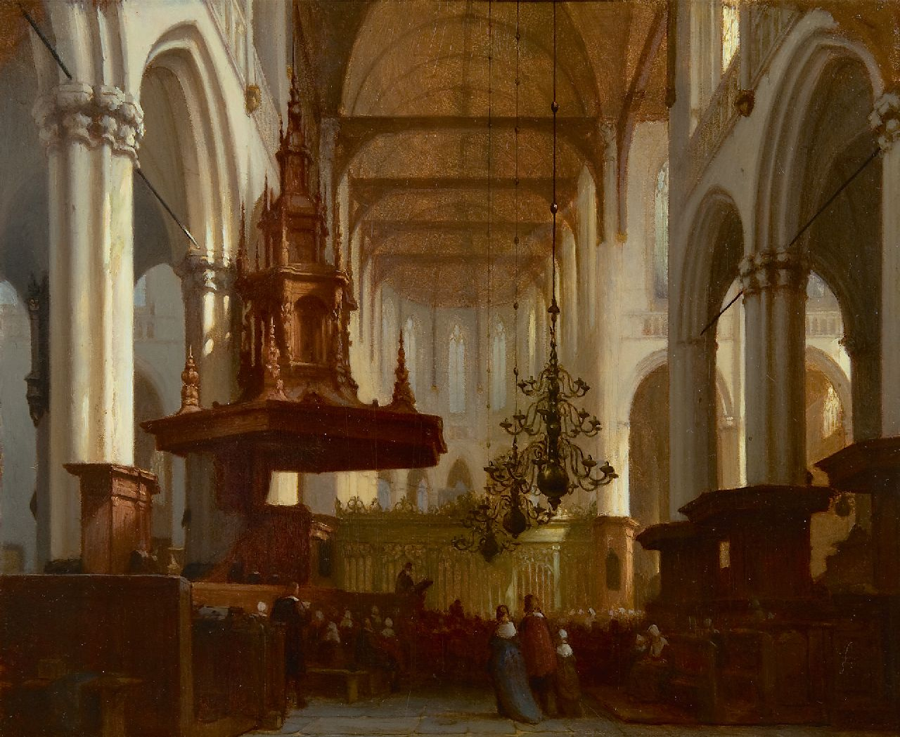 Jan Jacob Schenkel | In the Nieuwe Kerk in Amsterdam, oil on panel, 30.5 x 36.8 cm, signed l.r.