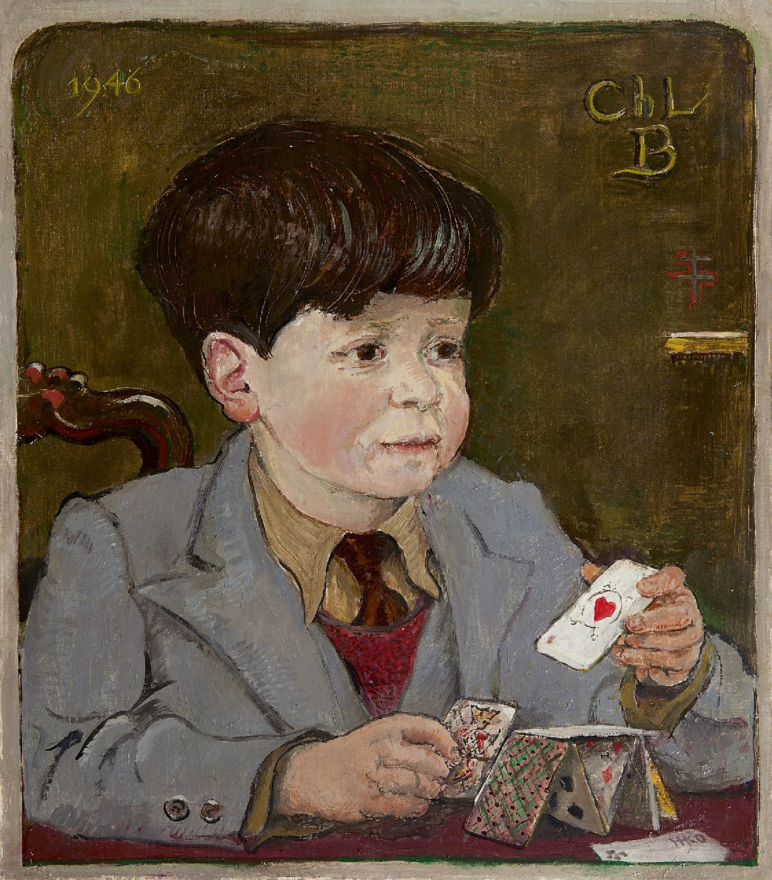 Kamerlingh Onnes H.H.  | 'Harm' Henrick Kamerlingh Onnes | Paintings offered for sale | A child with playing cards, oil on canvas 45.8 x 40.6 cm, signed l.r. with monogram and dated 1946