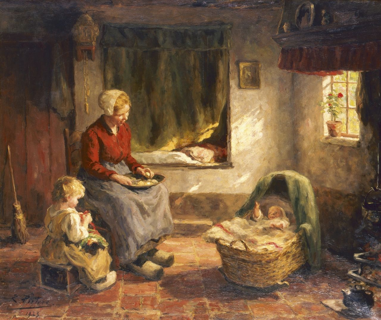 Pieters E.  | Evert Pieters, A happy family, oil on canvas 78.2 x 92.3 cm, signed l.l. and dated 1923