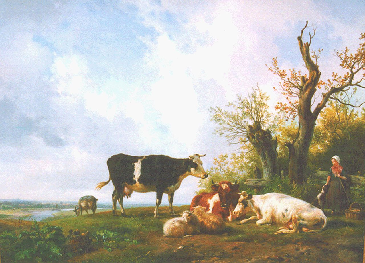 Sande Bakhuyzen H. van de | Hendrikus van de Sande Bakhuyzen, A peasant woman with cattle, oil on panel 47.6 x 63.2 cm, signed l.r. and dated 1836