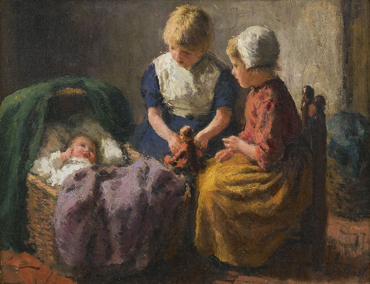 Pothast B.J.C.  | 'Bernard' Jean Corneille Pothast, Two girls and a baby, oil on canvas 20.4 x 25.7 cm, signed l.r.