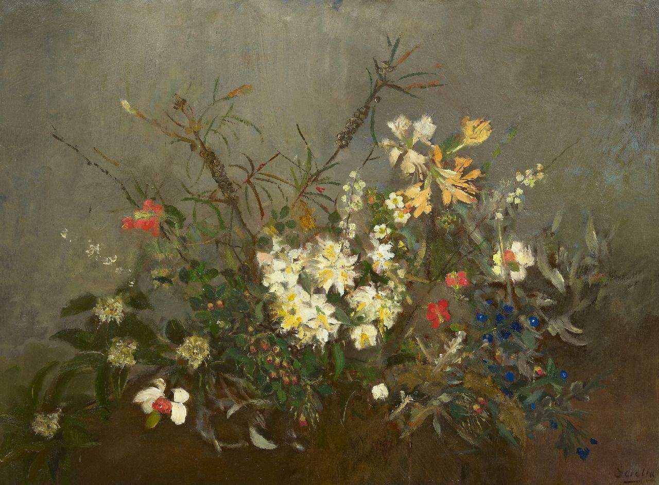 Sorella | Spring flowers, oil on board, 75.2 x 99.8 cm, signed l.r.