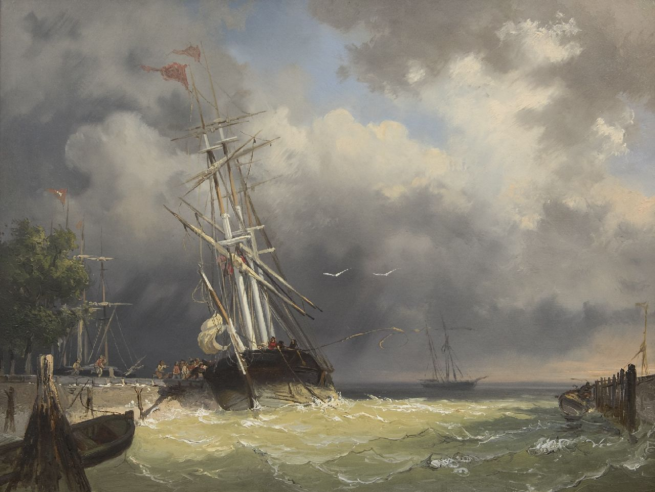 Frans Arnold Breuhaus de Groot | A threemaster entering the harbour in a storm, oil on panel, 44.4 x 59.5 cm