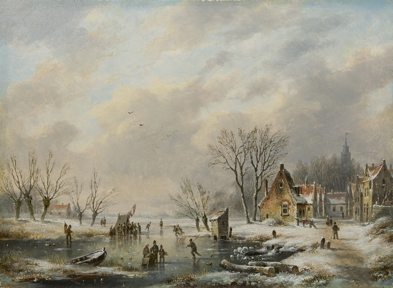 Hendriks G.  | Gerardus 'George Henry' Hendriks, Skating fun by a snowy village, oil on panel 26.0 x 35.1 cm