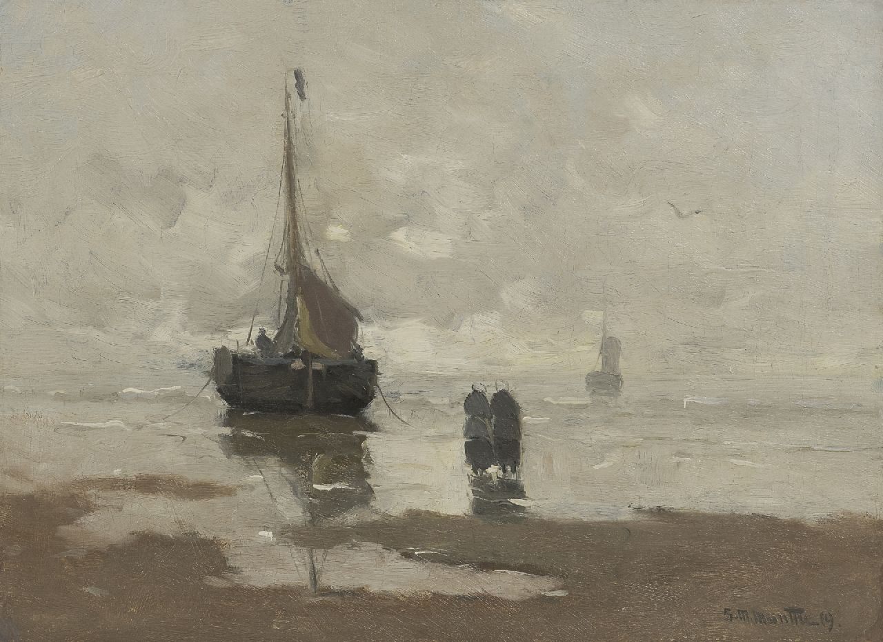 Munthe G.A.L.  | Gerhard Arij Ludwig 'Morgenstjerne' Munthe | Paintings offered for sale | Beach with fishing boat, oil on canvas 32.0 x 40.0 cm, signed l.r. and dated '19