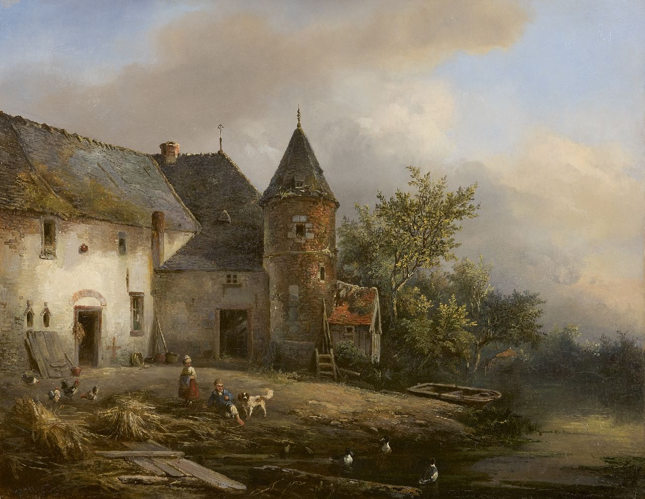 Willem George Wagner | Children playing on a farmyard, oil on panel, 61.0 x 77.1 cm, signed l.l.