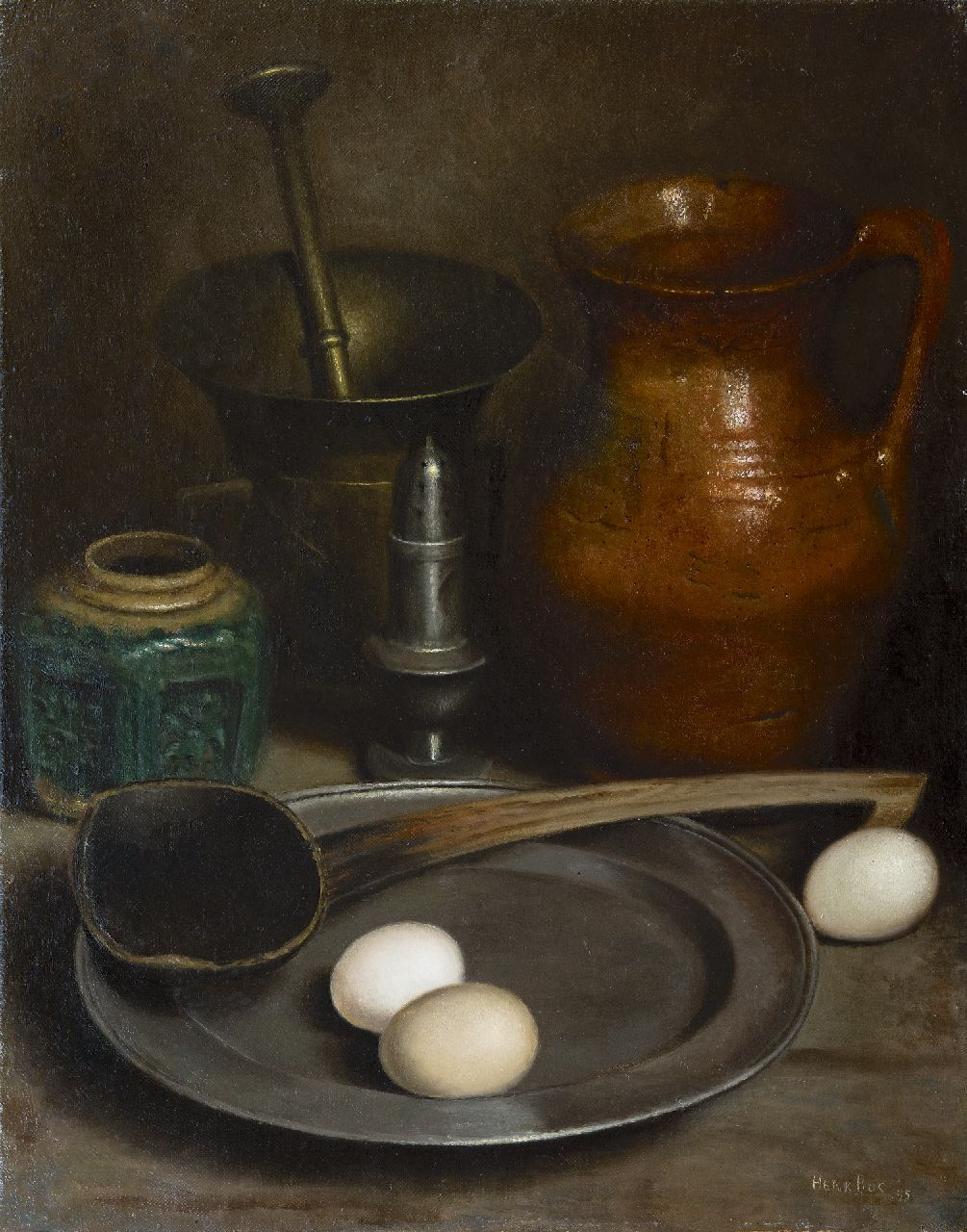 Henk Bos | A still life with pewter and earthenware, oil on canvas, 51.8 x 41.0 cm, signed l.r. and dated '45