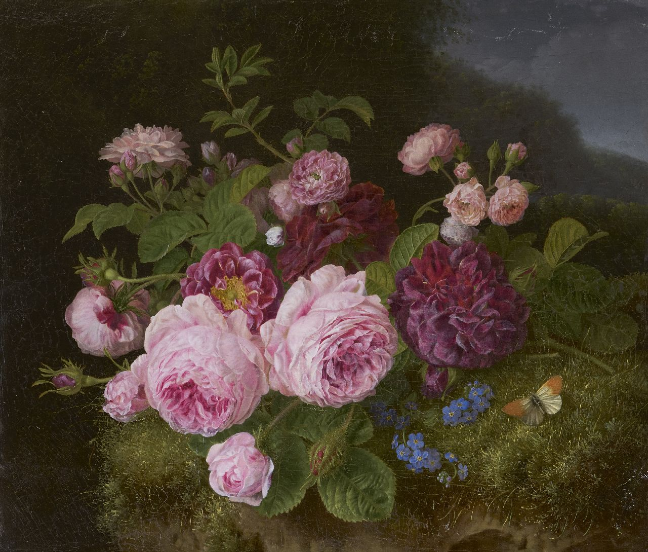 'Henriëtte' Geertruida Knip | Roses on the forest soil, oil on canvas, 36.3 x 42.7 cm