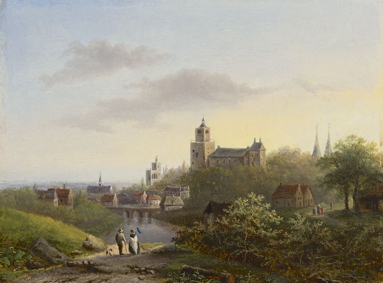 Hekking C.J.A.  | Carel Josephus Antonius Hekking | Paintings offered for sale | A view on Cleve with the Zwanenburcht and 'Belvédère' tower of B.C. Koekkoek, oil on panel 25.3 x 34.1 cm, signed l.l.