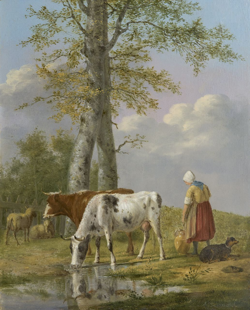 Anthony Oberman | Milking time, oil on panel, 37.5 x 30.3 cm, signed l.r.