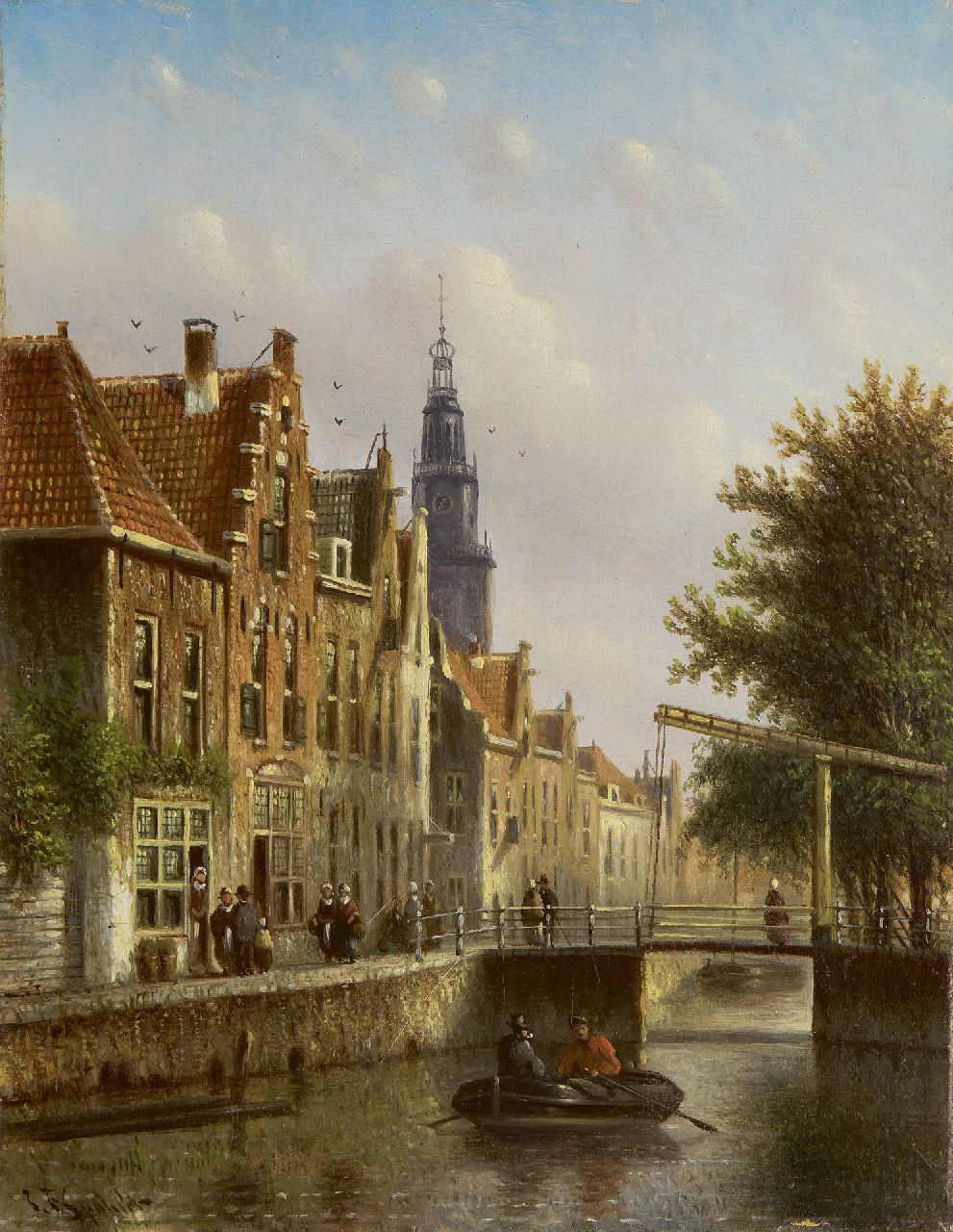 Spohler J.F.  | Johannes Franciscus Spohler, A fantasy view of the Raamgracht and Zuiderkerk, Amsterdam, oil on panel 20.4 x 15.8 cm, signed l.l.