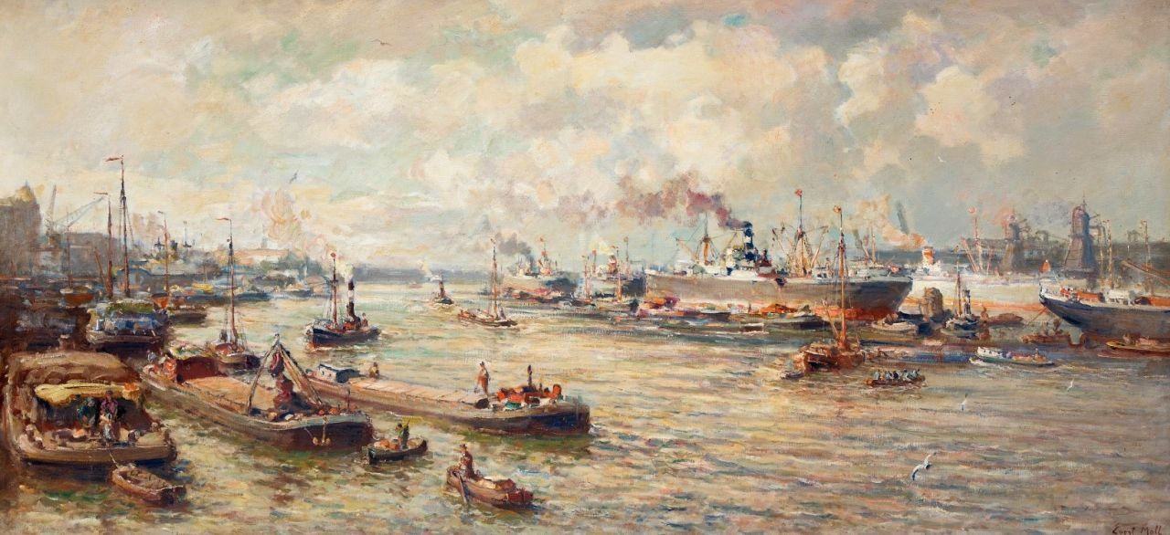 Moll E.  | Evert Moll, The harbour of Rotterdam, oil on canvas 94.6 x 200.4 cm, signed l.r.