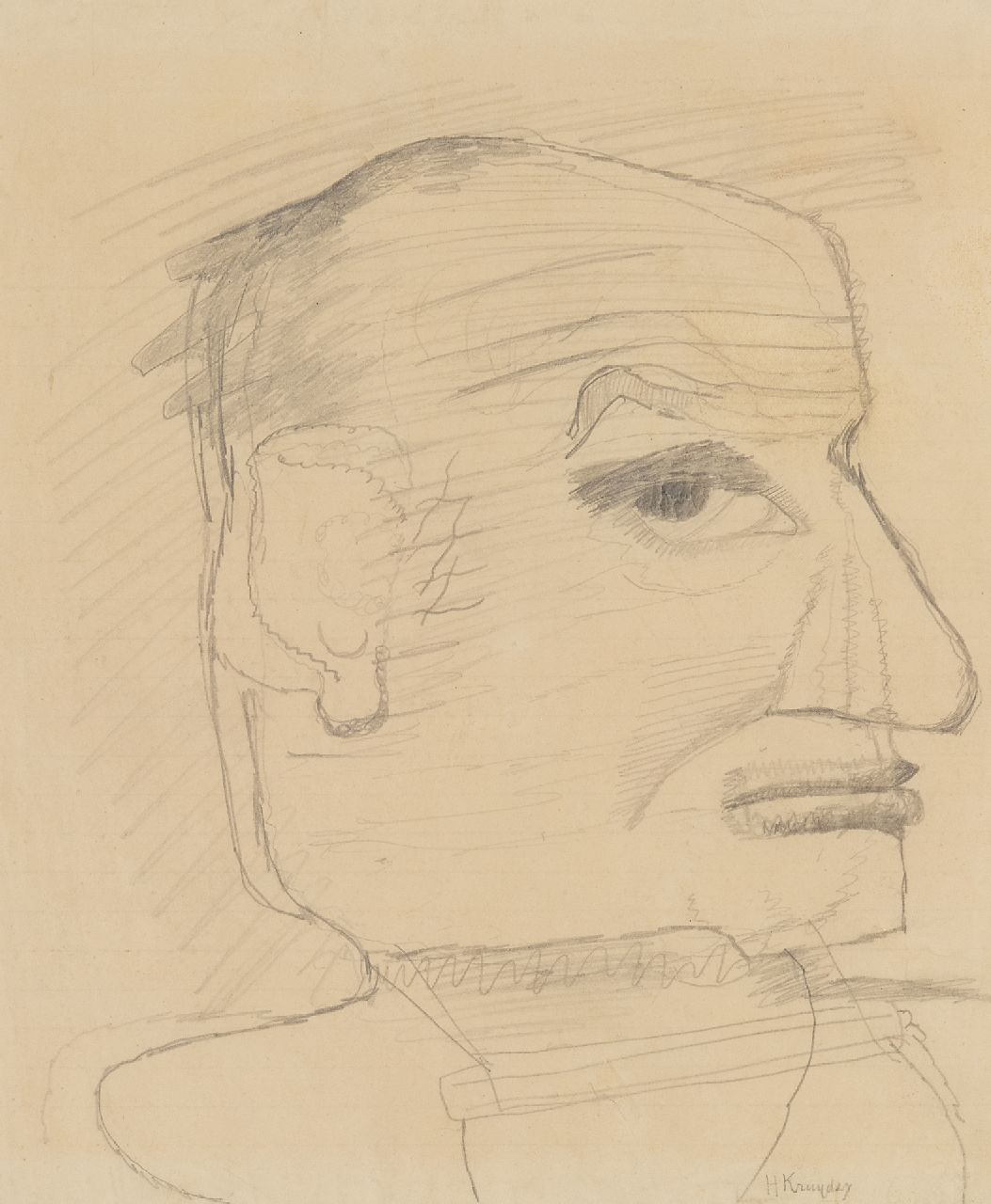 Kruyder H.J.  | 'Herman' Justus Kruyder | Watercolours and other works on paper offered for sale | Self-portrait (probably), pencil on paper 25.0 x 21.0 cm, signed l.r.