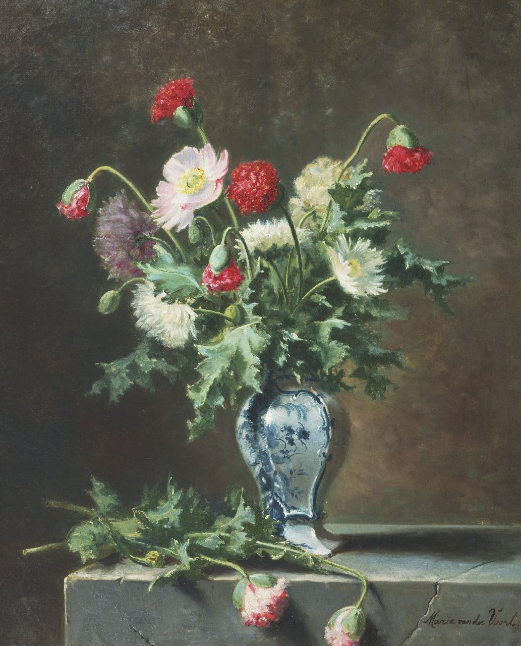 Voort in de Betouw-Nourney M. van der | Maria van der Voort in de Betouw-Nourney | Paintings offered for sale | A still life with poppies, oil on canvas 79.2 x 64.7 cm, signed l.r.