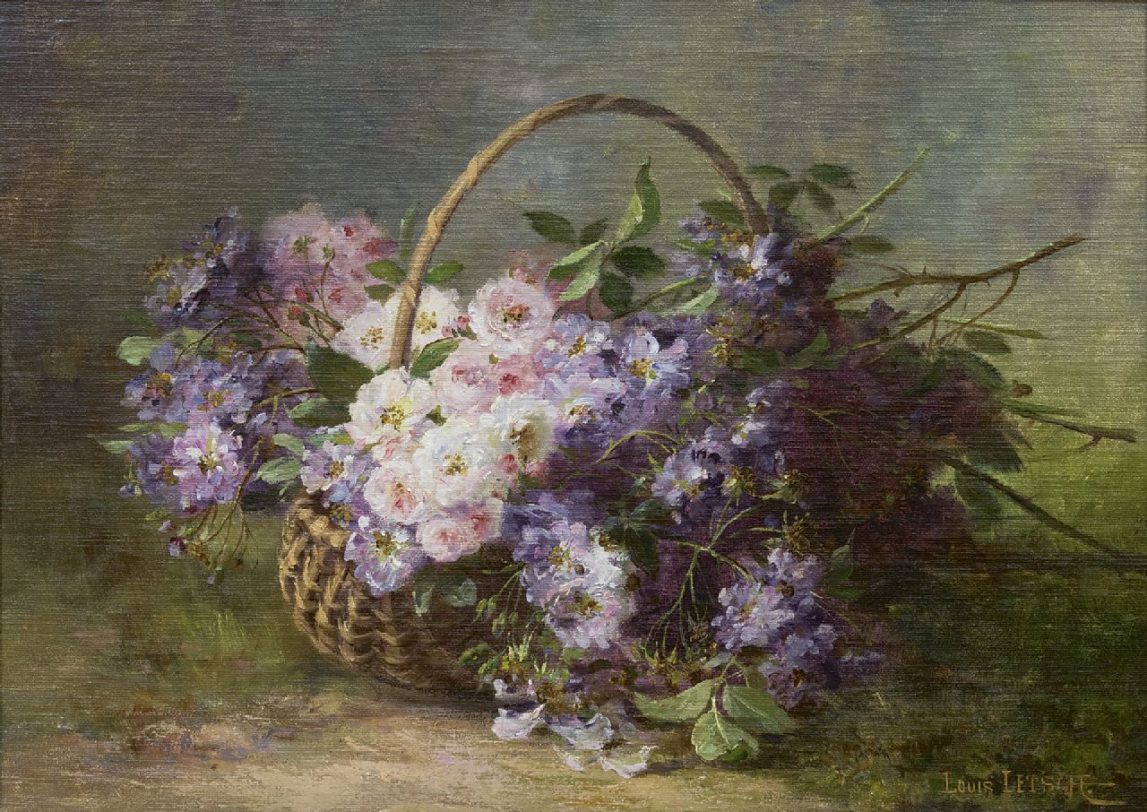Louis Letsch | Roses in a basket, oil on canvas, 46.5 x 66.3 cm, signed l.r.
