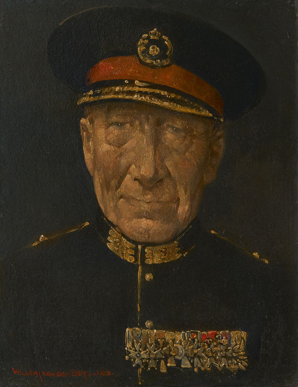 Berg W.H. van den | 'Willem' Hendrik van den Berg | Paintings offered for sale | Portrait of a general in full dress, oil on board 20.8 x 16.0 cm, signed l.l. and dated 1963