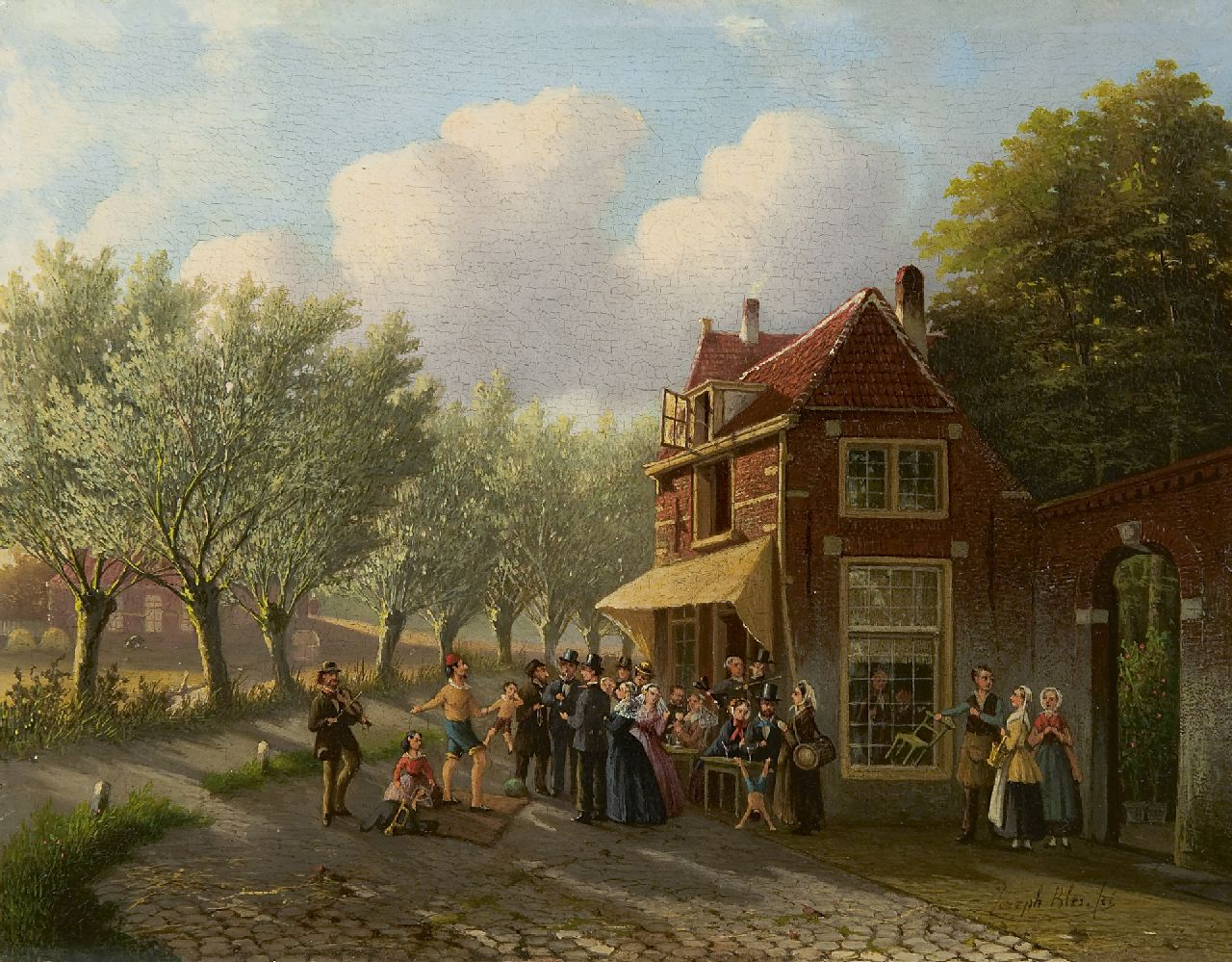 Joseph Bles | A magician by a village tavern, oil on panel, 20.6 x 26.2 cm, signed l.r.