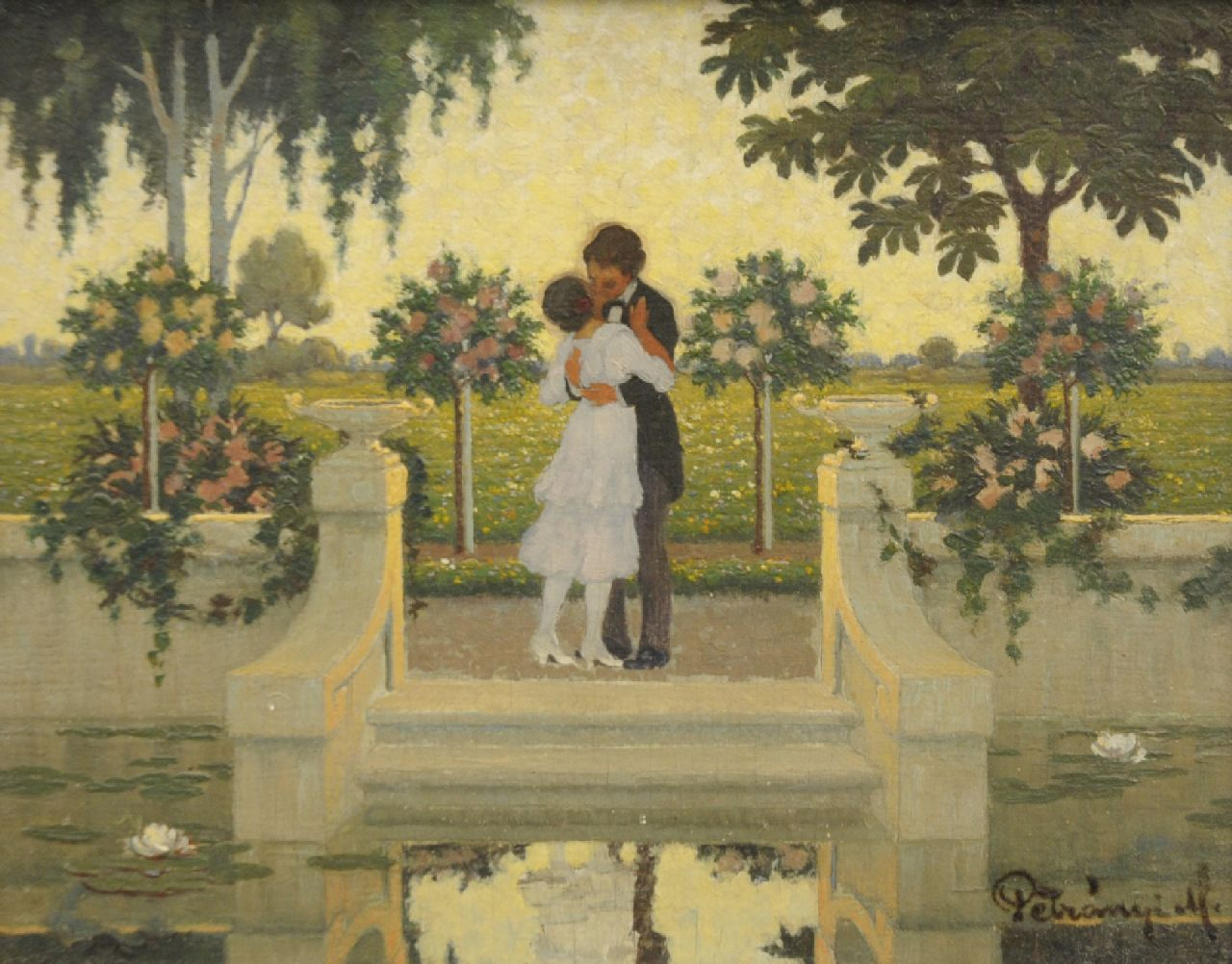 Nikolaus Petranyi | The French kiss, oil on panel, 18.0 x 23.0 cm, signed l.r. and dated 1917