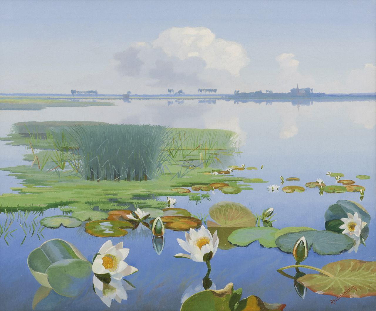 Smorenberg D.  | Dirk Smorenberg, Waterlillies in the  Loosdrechtse Plassen, oil on canvas 50.2 x 60.3 cm, signed l.r.
