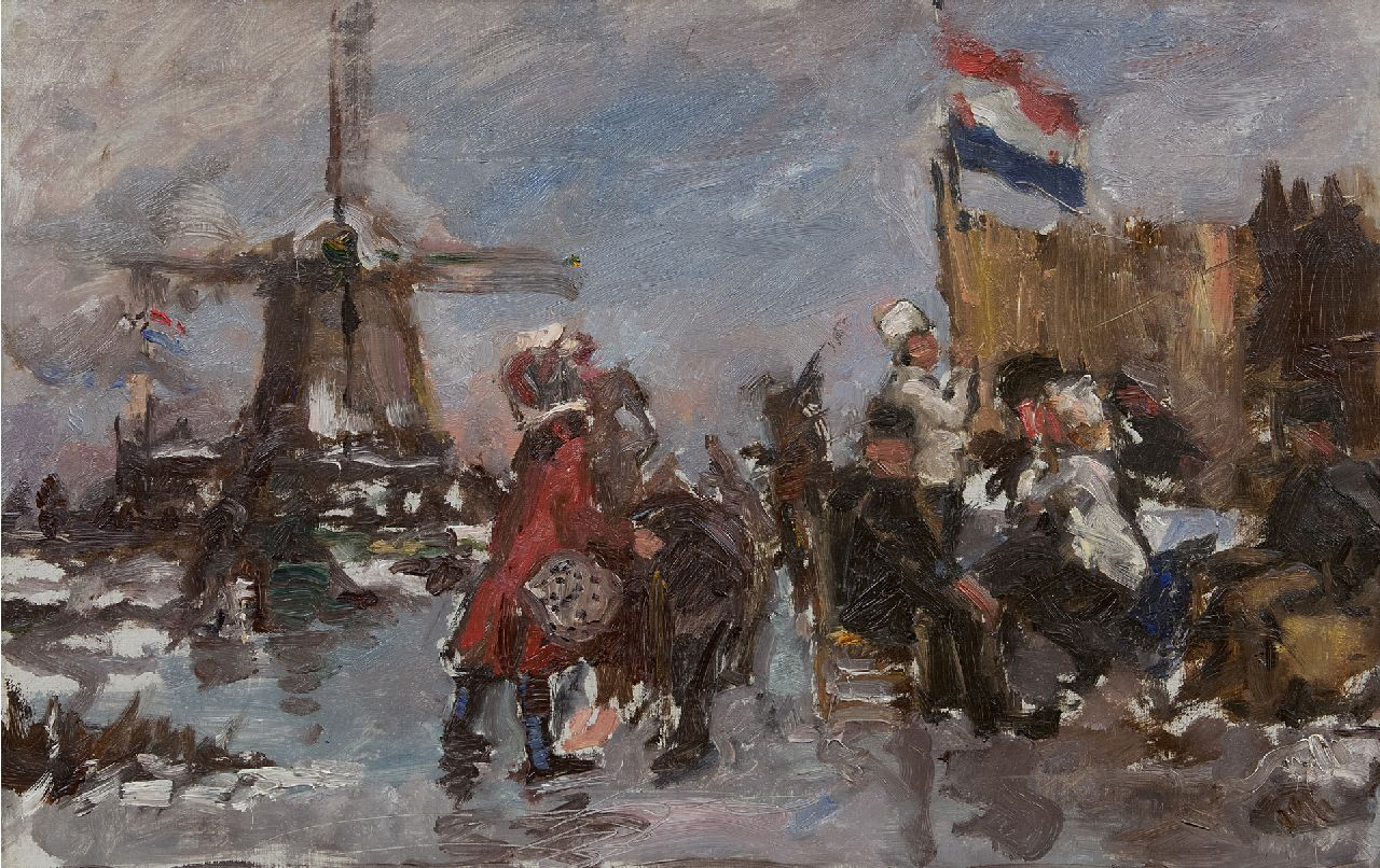 Roelofs O.W.A.  | Otto Willem Albertus 'Albert' Roelofs | Paintings offered for sale | Skaters in a Dutch winter landscape, oil on canvas 39.8 x 60.3 cm, painted ca 1899