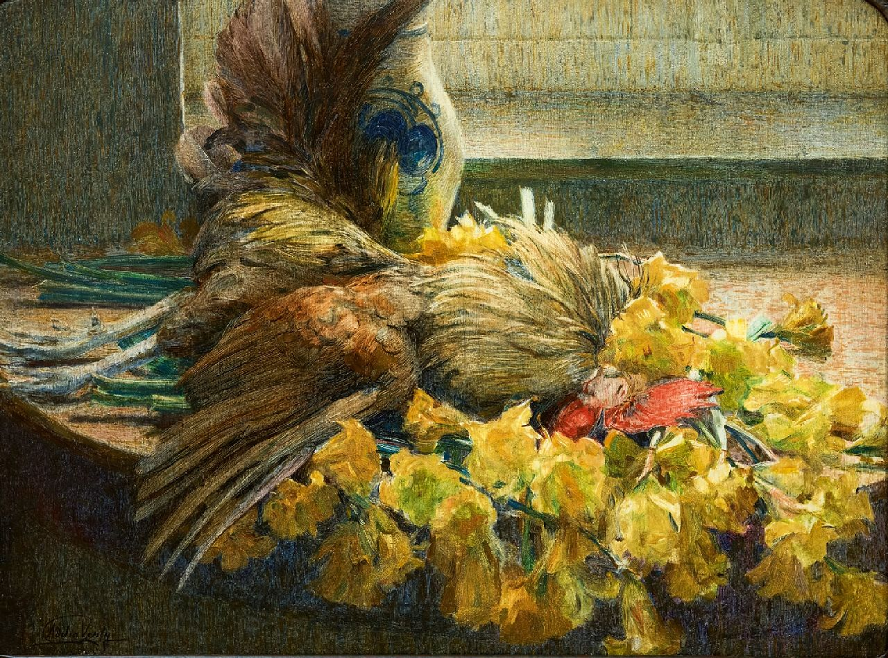 Adelin Verly | A still life with flowers and poultry, oil on canvas, 54.8 x 73.7 cm, signed l.l.
