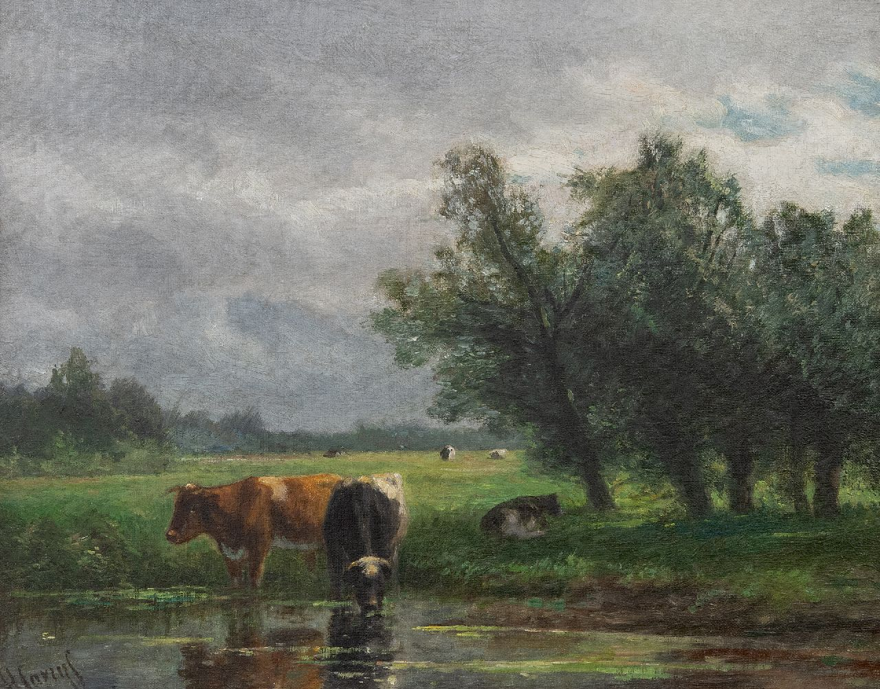Hendrik Savrij | A polder landscape with drinking cattle, oil on canvas, 37.0 x 47.2 cm, signed l.l.