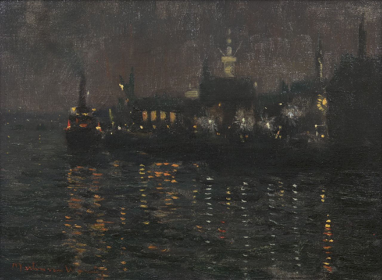 Martin van Waning | Harbour at night, oil on canvas, 30.2 x 40.3 cm, signed l.l.
