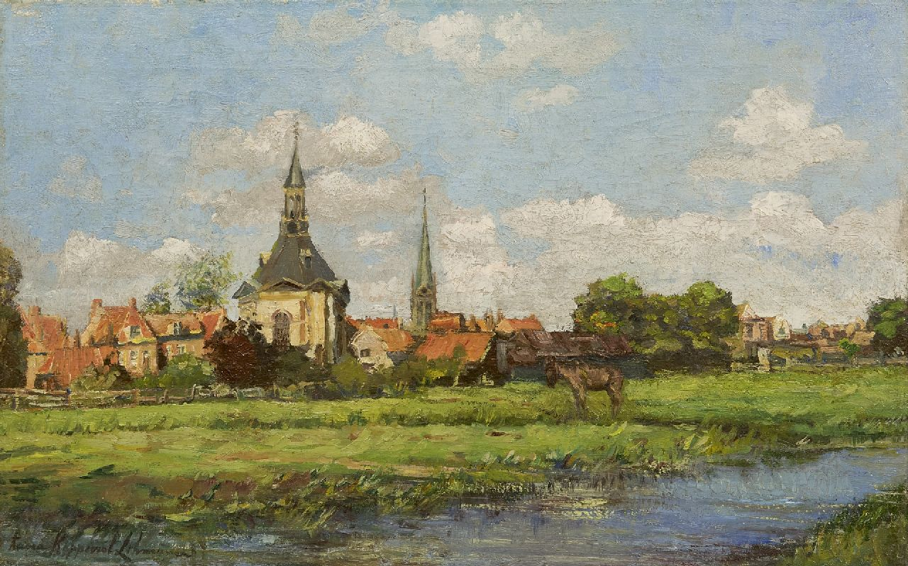 Anna Lehmann | A view of Leidschendam with the Dorpskerk, oil on canvas, 30.0 x 46.0 cm, signed l.l.
