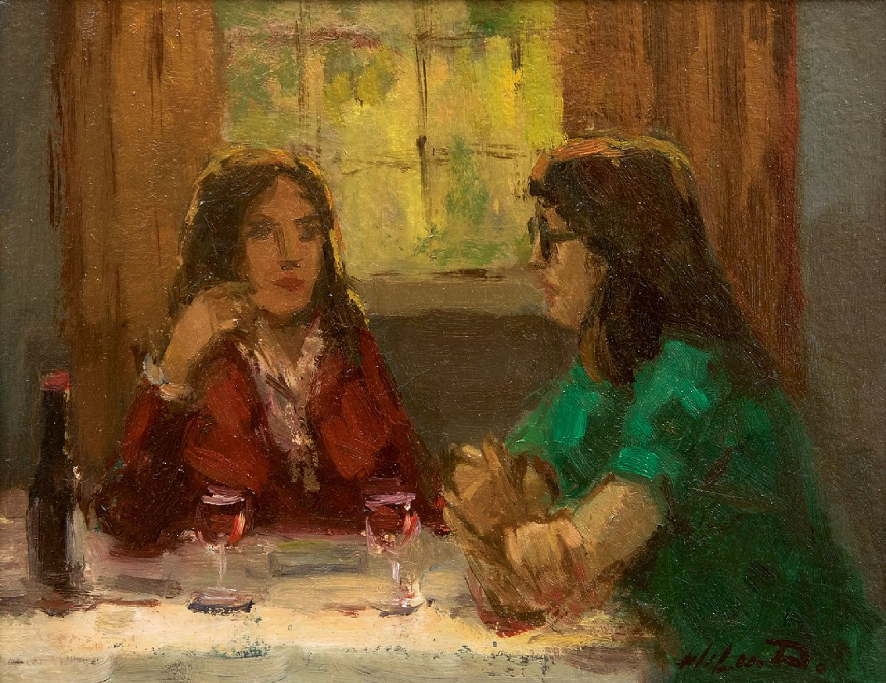 Wil van Dinther | Sharing confidences, oil on board, 14.9 x 18.8 cm, signed l.r. and on the reverse