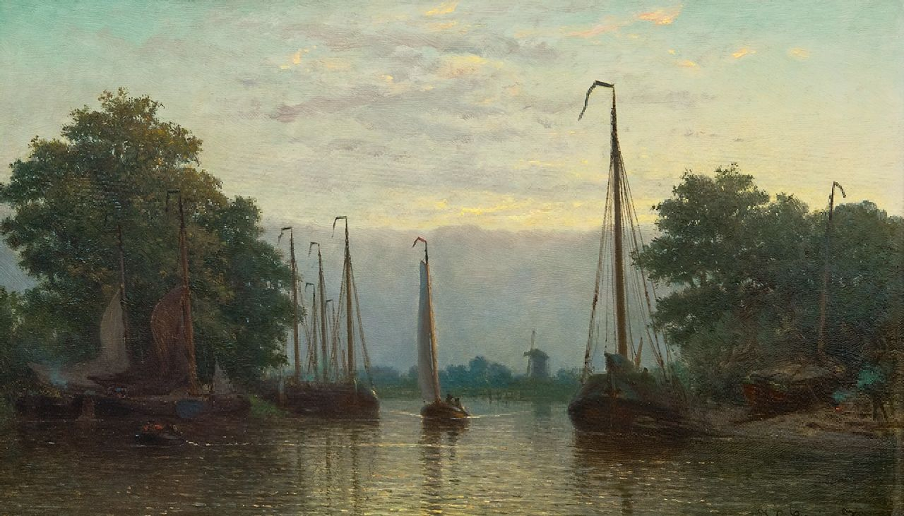Coen Greive | A smal shipyard river along the river at dusk, oil on panel, 25.5 x 42.5 cm, signed l.r.
